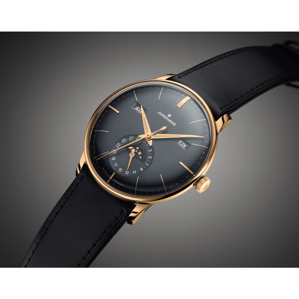 Junghans Meister Kalender Automatic Watch | Black Leather Strap 027/7504.02