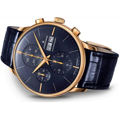 Junghans Meister Chronoscope Watch | Dark Blue Alligator Leather strap 027/7924.01