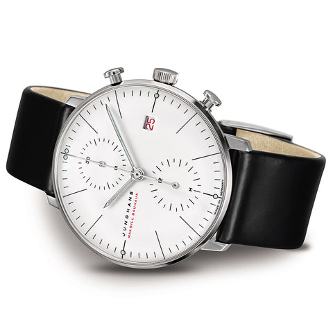Junghans Max Bill Chronoscope 18ct White Gold 100 Jahre Bauhaus Watch | 027/9900.02