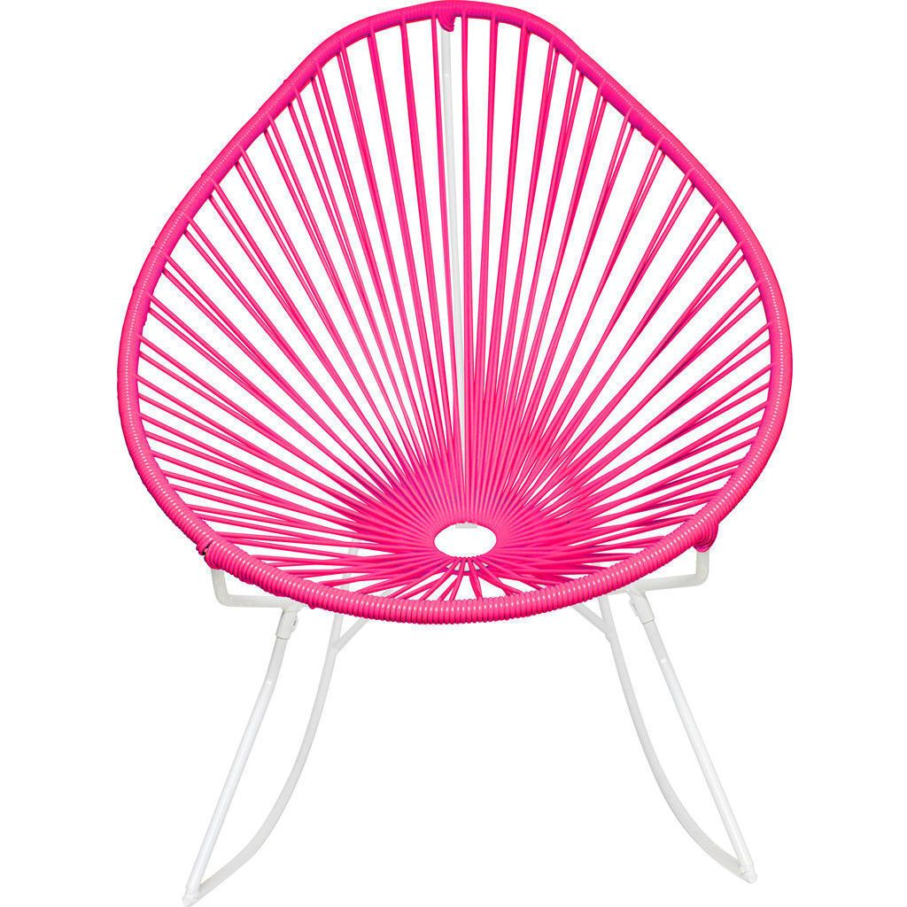 Innit Designs Acapulco Rocker Chair | White/Pink