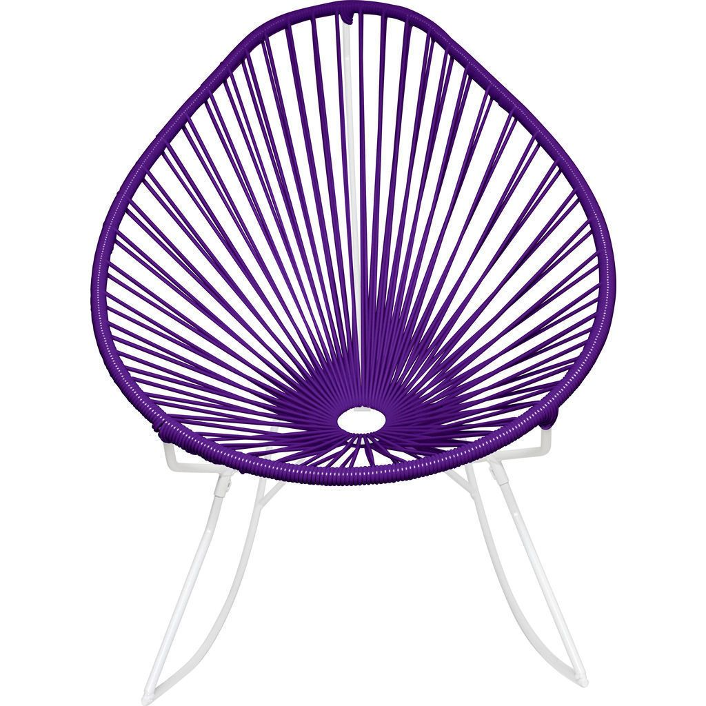 Innit Designs Acapulco Rocker Chair | White/Purple
