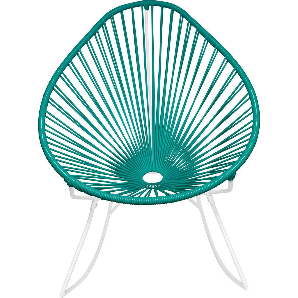 Innit Designs Acapulco Rocker Chair | White/Turquoise