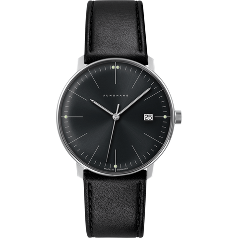 Junghans Max Bill Quartz Date Watch | Black Calfskin 041/4465.00