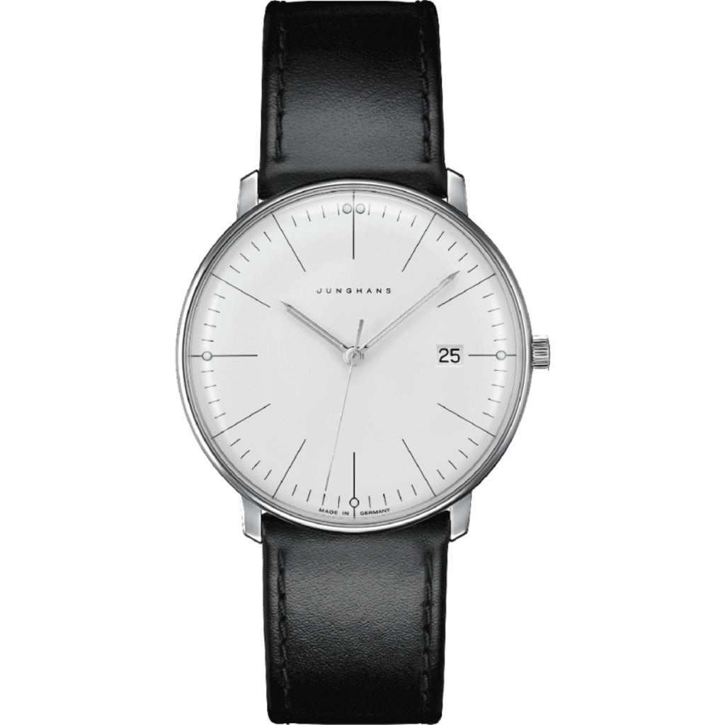 Junghans Max Bill Limited Edition 2017 Automatic Wrist Watch |Silver-White/Black Leather 041/4763.00