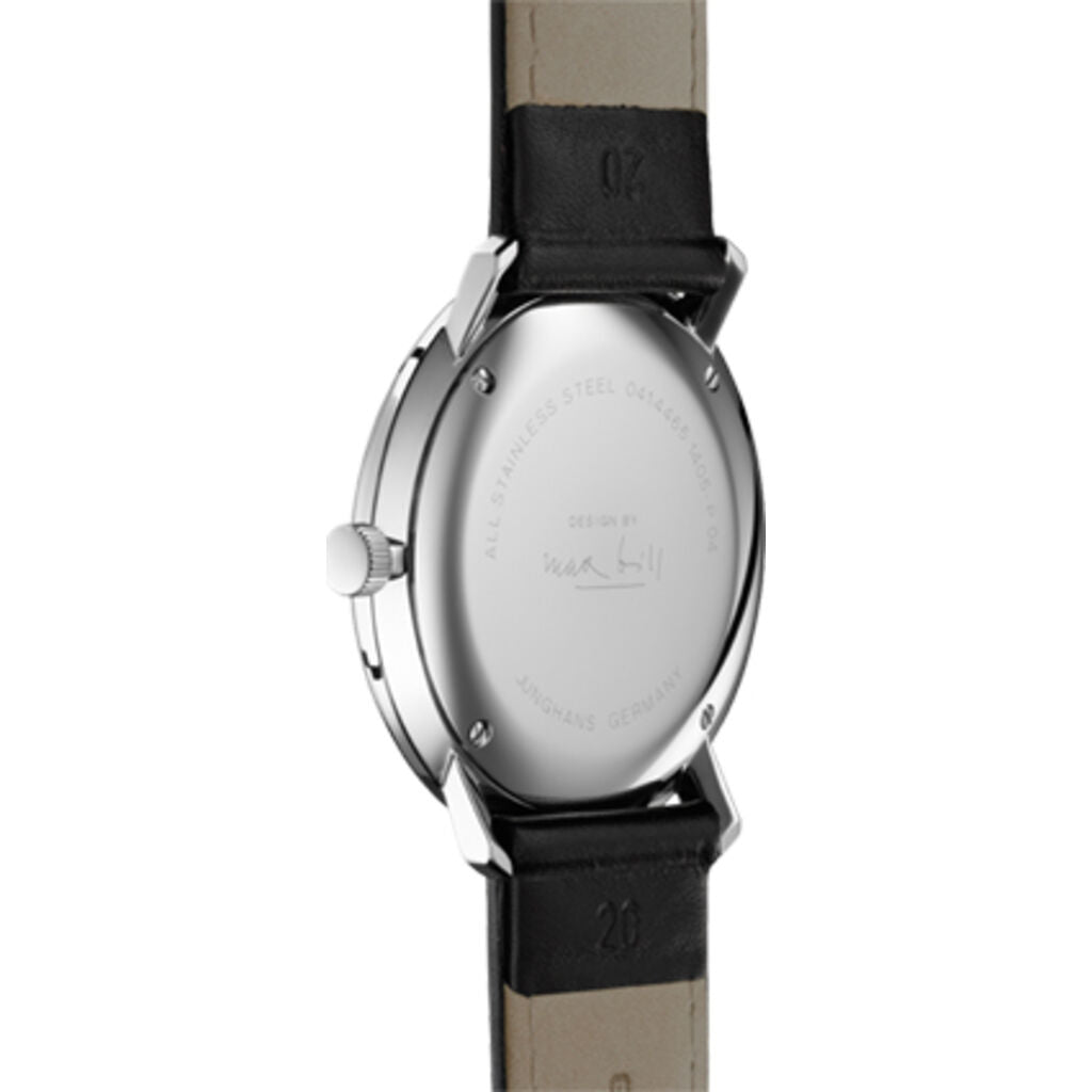 Junghans Max Bill Quartz Matt Silver Watch | Black Calfskin Strap 041/4817.04