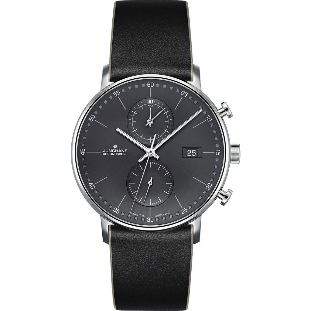 Junghans Form C Chronoscope Quartz Matt Anthracite Watch | Black Leather Strap 041/4876.00