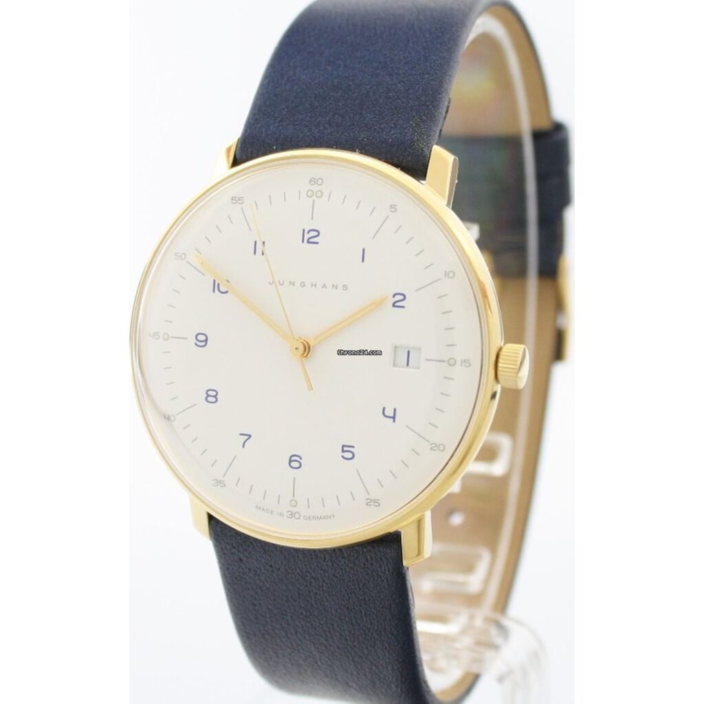 Junghans Max Bill Quartz Matt White Watch | Blue Calfskin Strap 041/7849.00