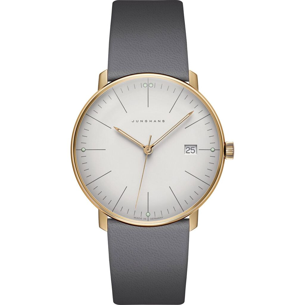 Junghans Max Bill Quartz PVD Date Matt Silver Watch | Grey Calfskin Strap 041/7857.00