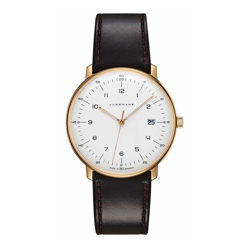 Junghans Max Bill Herren Quarz Watch | Black Leather Strap 041/7872.04