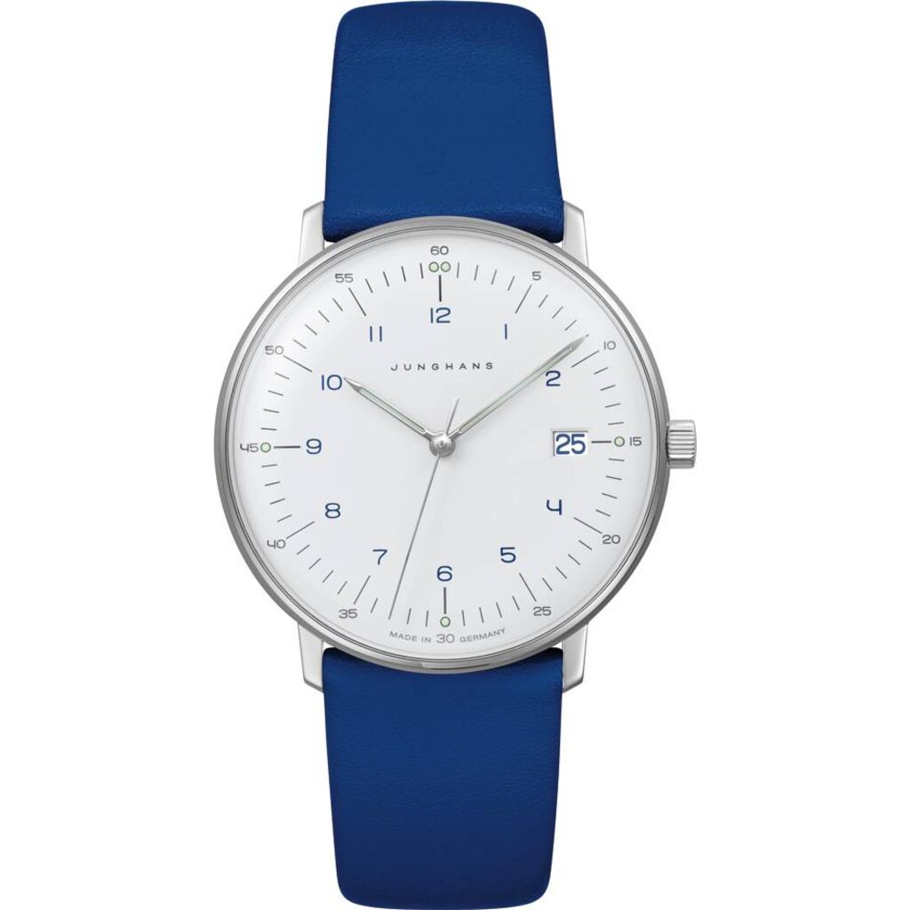 Junghans Max Bill Ladies Quartz Matt White Watch | Blue Calfskin Strap 047/4540.00