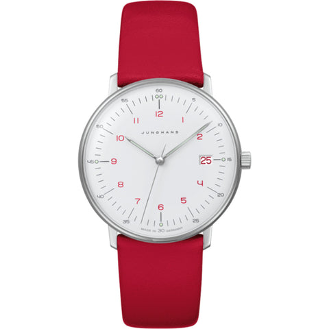 Junghans Max Bill Ladies Quartz Wrist Watch | White/Red Calf Leather 047/4541.00