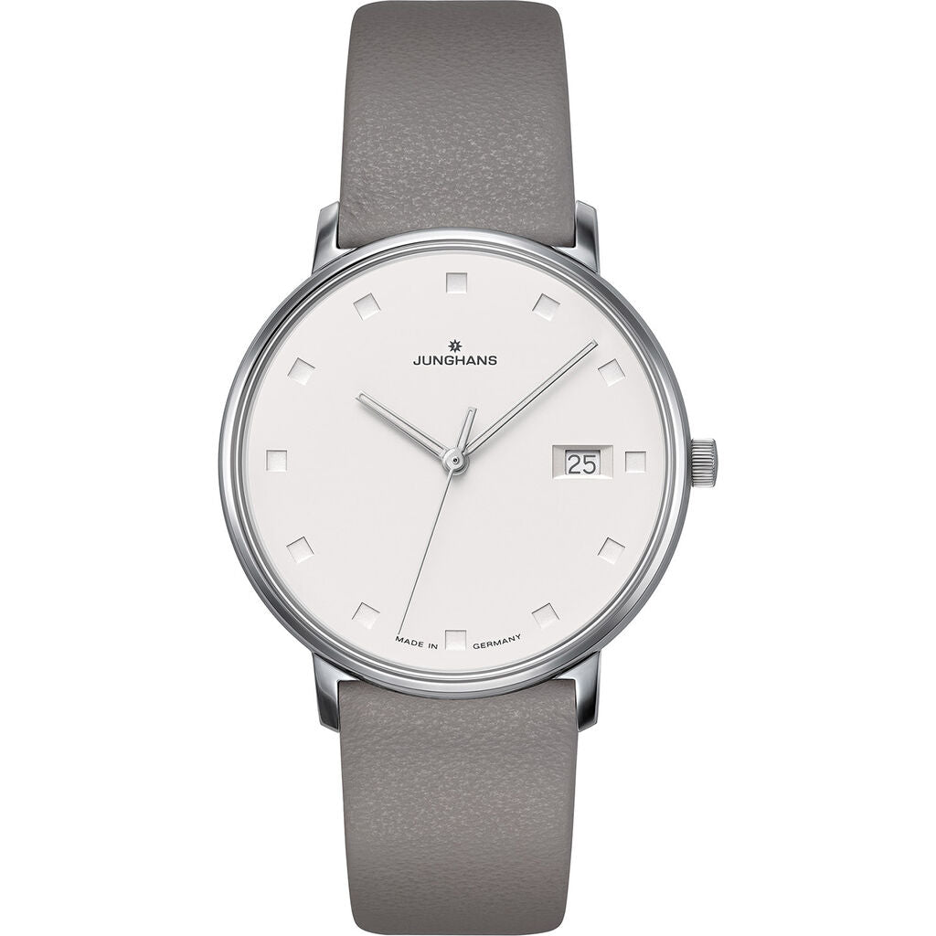 Junghans Form Damen Matt Silver Watch | Grey Calfskin Strap 047/4853.00