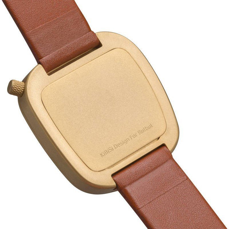 bulbul Pebble 05 Men's Watch | Matte Golden Steel on Brown Italian Leather