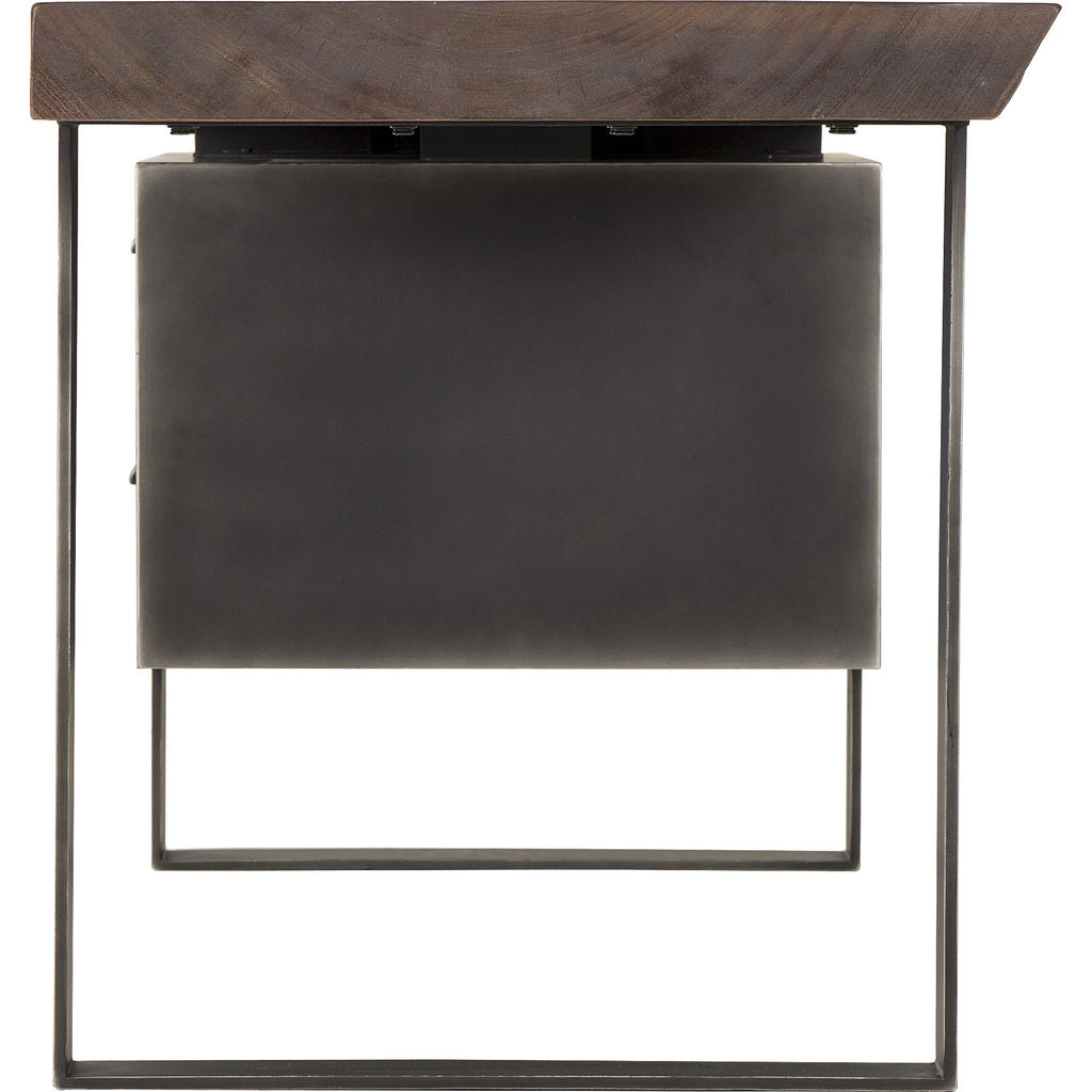 Resource Decor Charles 2 Drawer Desk | Cashew/Peroba/Steel