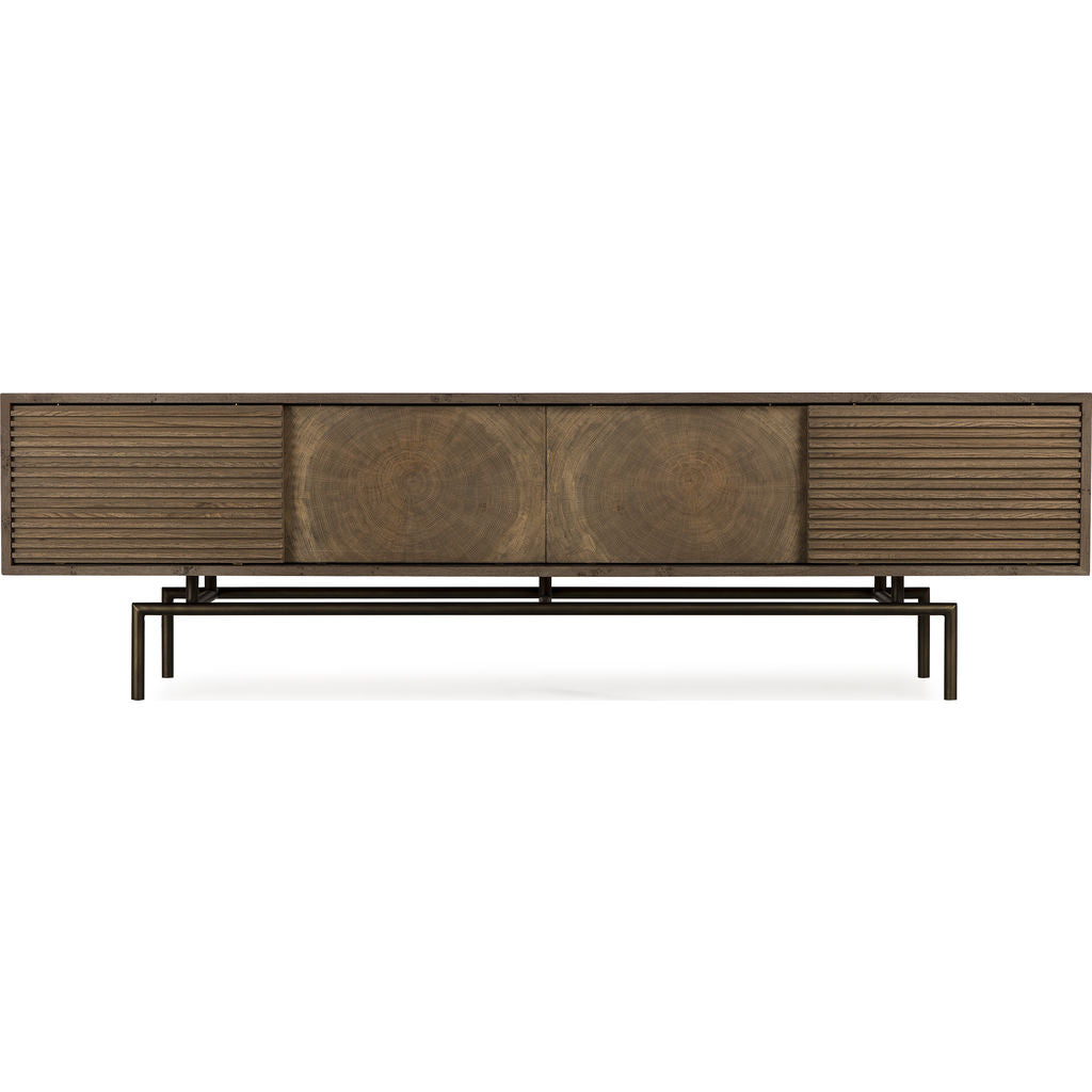 Resource Decor Blaine Media Console Table | Oak/Steel