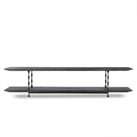 Resource Decor Natal Media Console Table | French Oak/Turned Steel