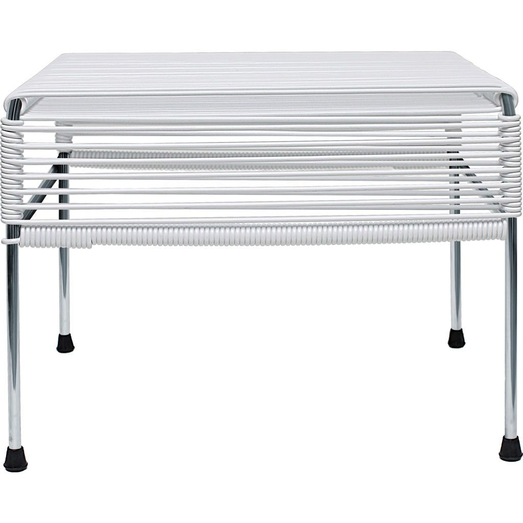 Innit Designs Atom Ottoman | White/Chrome