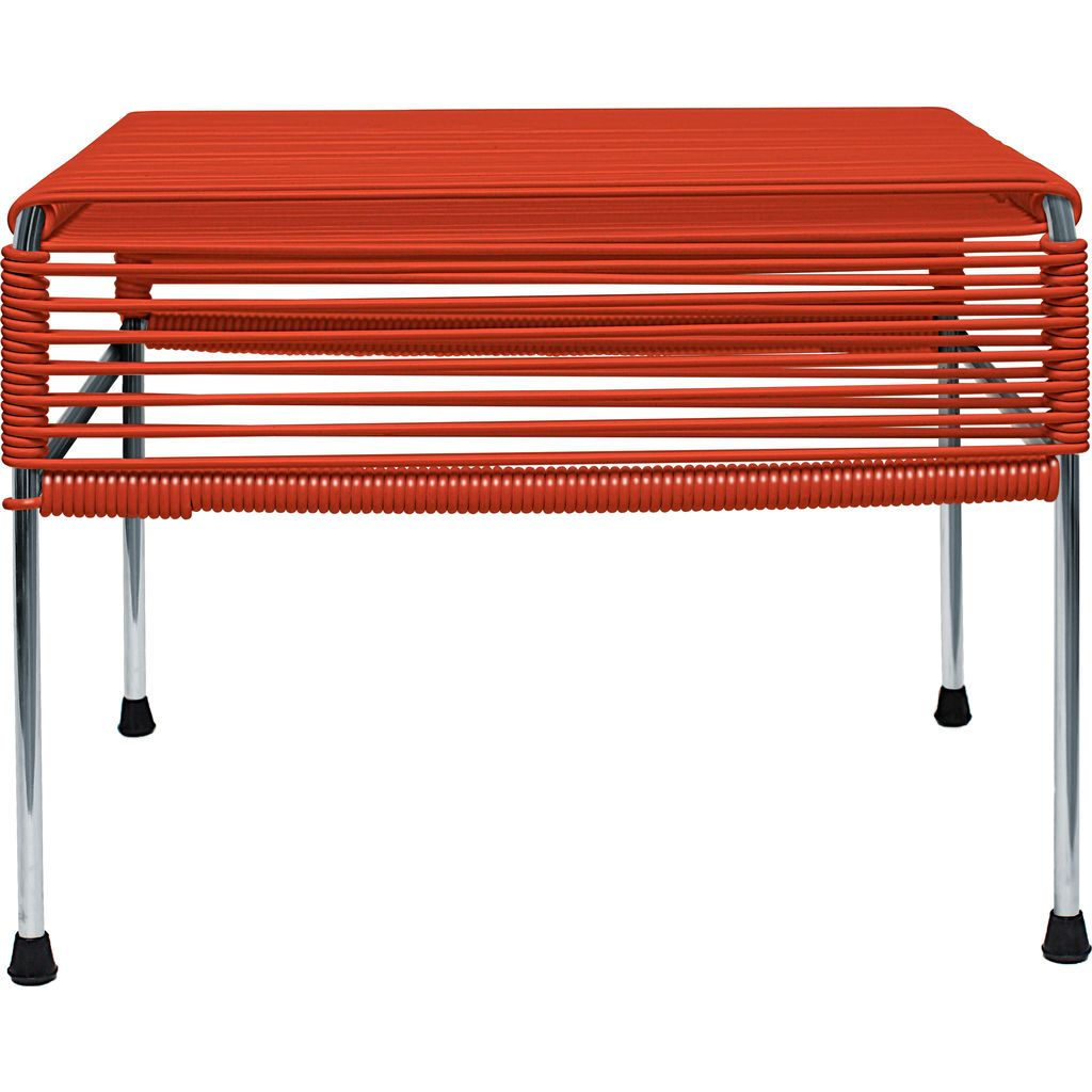Innit Designs Atom Ottoman | Red/Chrome