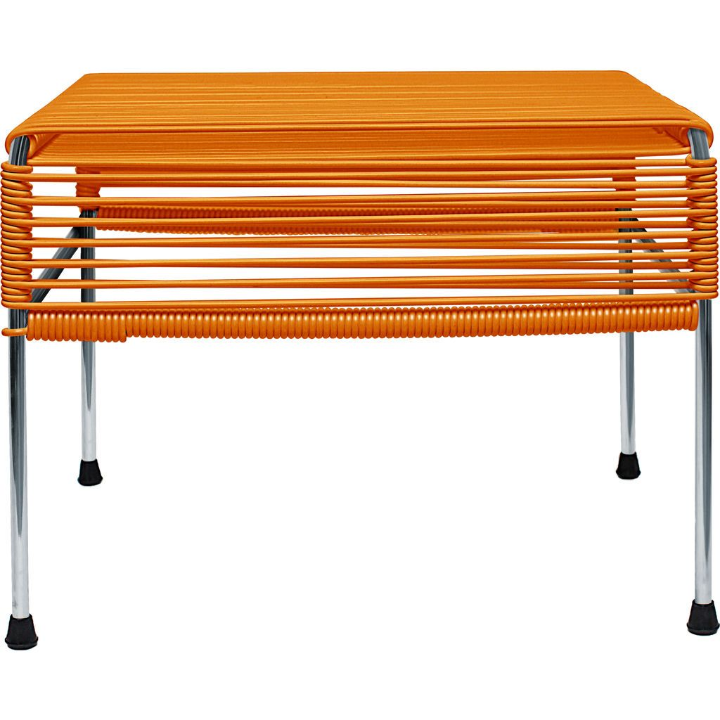 Innit Designs Atom Ottoman | Orange/Chrome