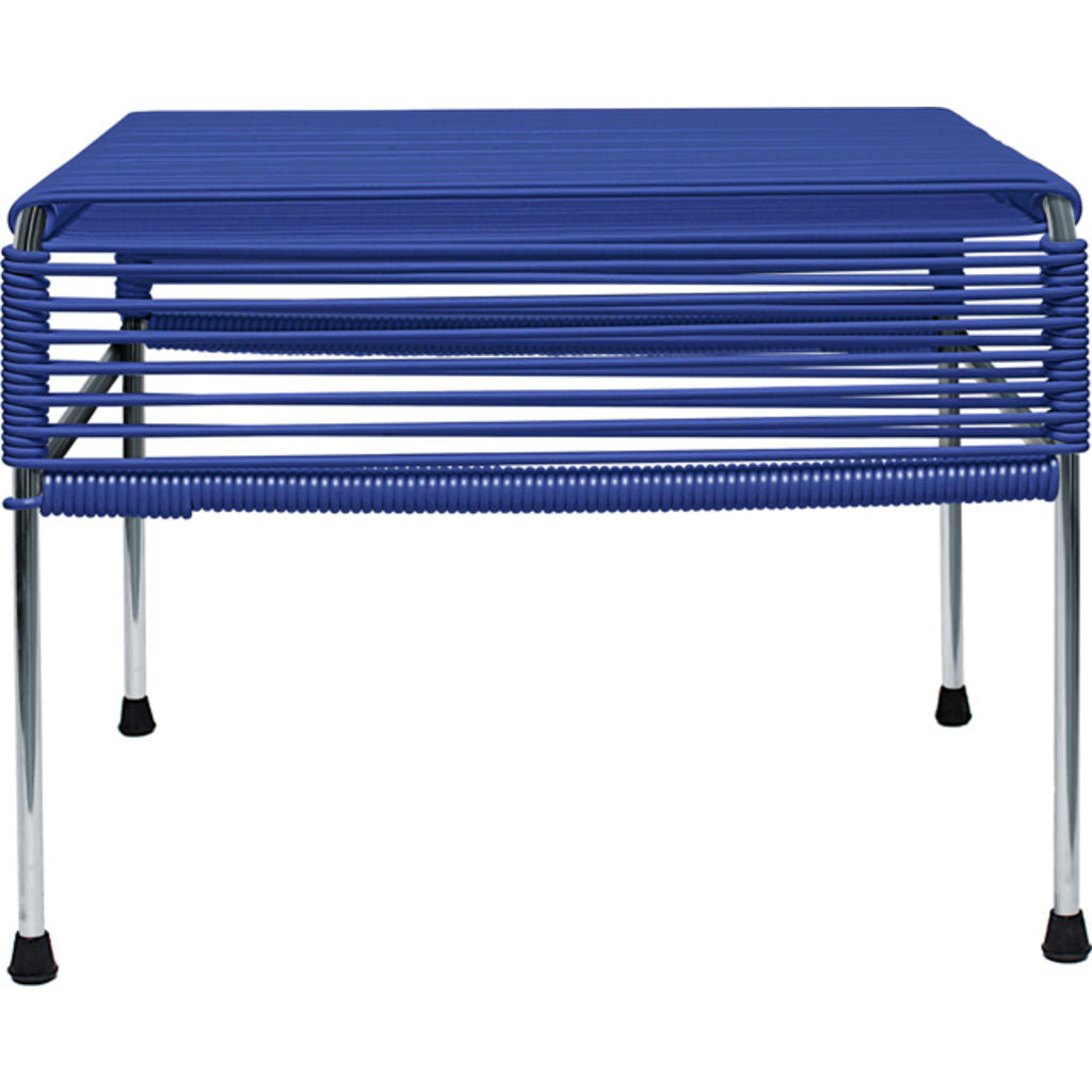 Innit Designs Atom Ottoman | Deep Blue/Chrome