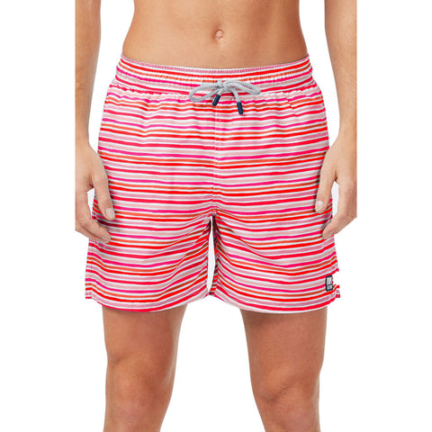 Tom & Teddy Men's Stripe Swim Trunk | Sunset