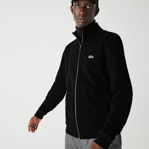 Lacoste Zippered Stand-Up Collar Piqué Fleece Sweatshirt | Black