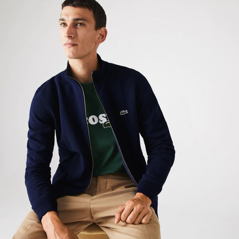 Lacoste Men's Zippered Stand-Up Fleece Sweatshirt | Navy Blue/166