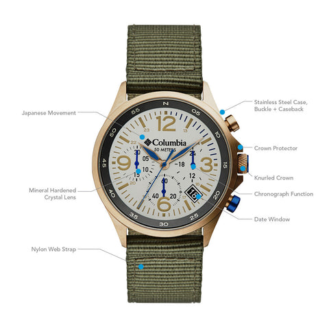 Columbia Canyon Ridge Stone Chronograph Date Men's Lifestyle Analog Watch | Olive Nylon