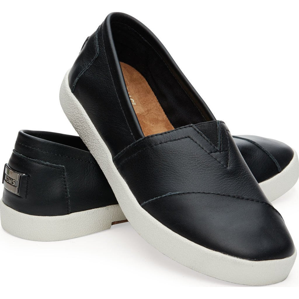 f3692ab41f3 TOMS Women s Avalon Slip Ons Black Leather - Sportique
