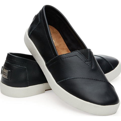 TOMS Women's Avalon Slip Ons | Black Leather Size:6, Width:B