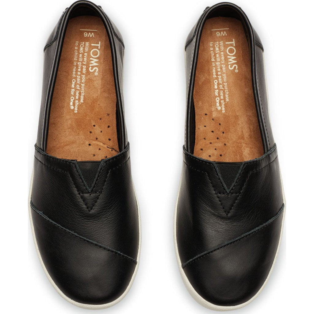 f502bb10988a TOMS Women s Avalon Slip Ons Black Leather - Sportique