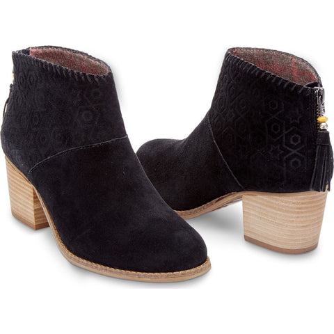 TOMS Women's Leila Booties | Black Suede Embossed 10007574