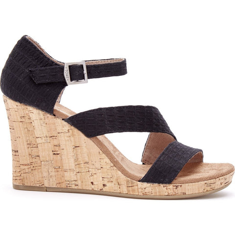 TOMS Women's Clarissa Wedges | Black Textile 10007808