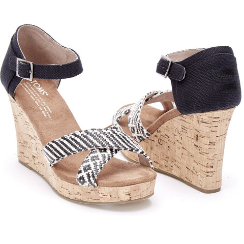 TOMS Women's Strappy Wedges | Black Woven 10007809