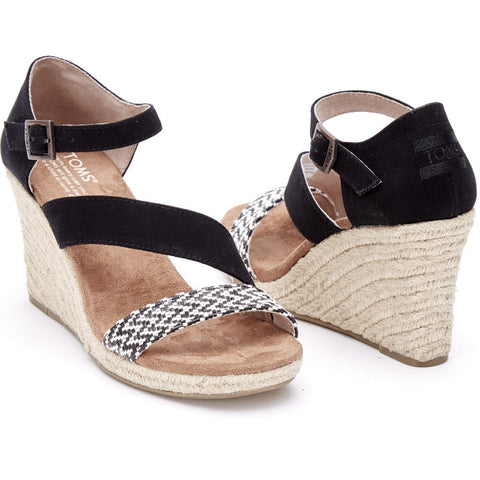 TOMS Women's Clarissa Wedges | Black White Woven 10007822