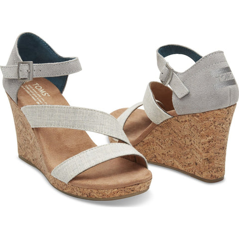 TOMS Women's Clarissa Wedges | Grey White Linen 10008933