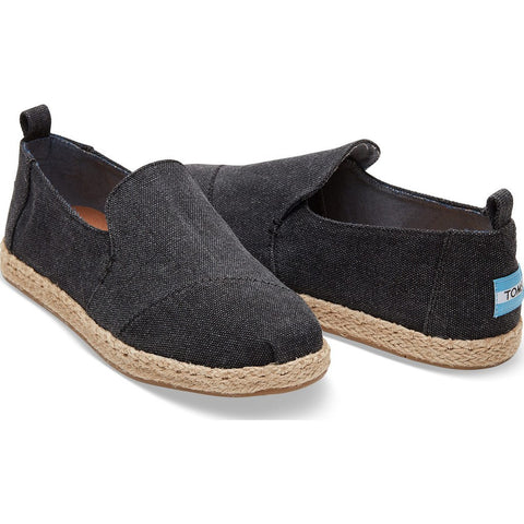 TOMS Women's Deconstructed Alpargata Espadrilles | Black Washed Canvas/Rope - Size:10, Width:B 10009834