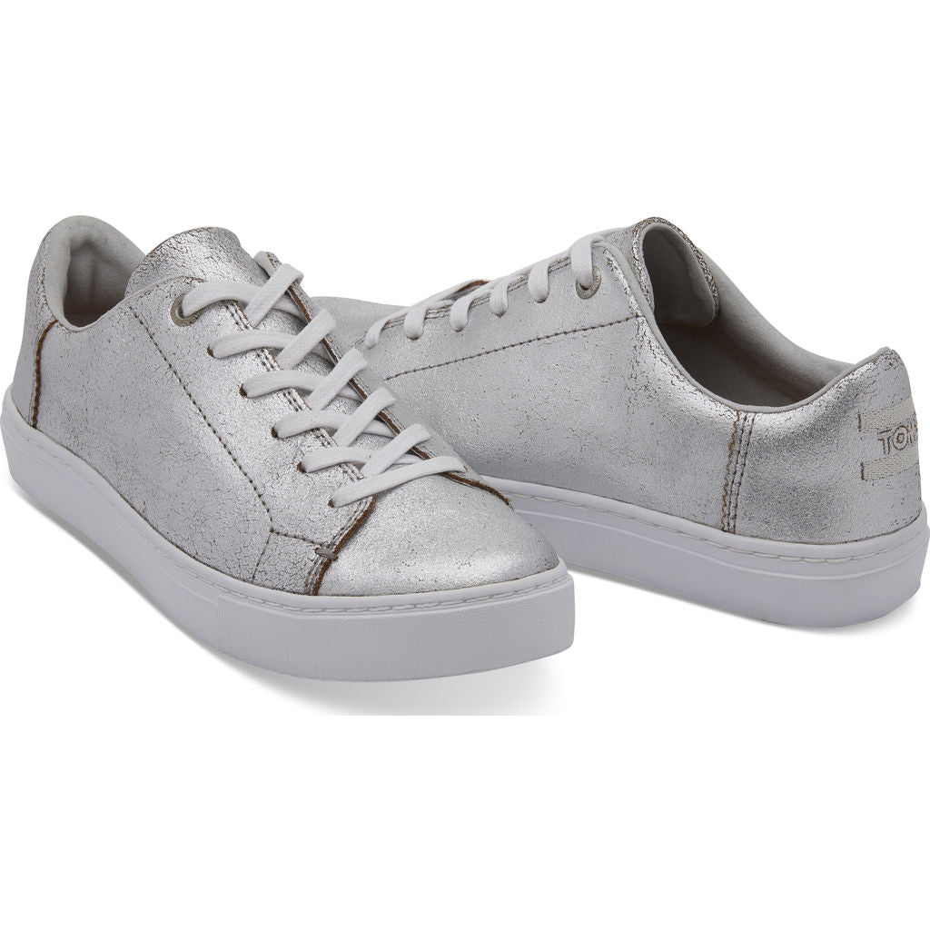 c1901f20cc ... TOMS Women's Metallic Leather Lenox Sneakers | Silver - 10010839 -6.5  ...