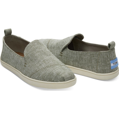 TOMS Women's Deconstructed Alpargata Slub Chambray Cupsole Slip Ons | Leaf Green- 10010883 -7