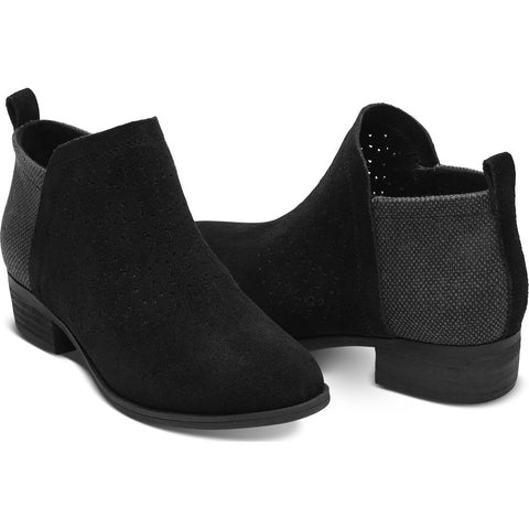 TOMS Women's Suede Radial Perforated Deia Booties | Black - 10010982 -6