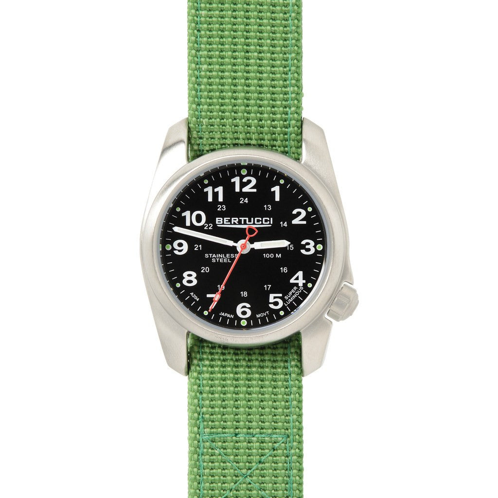 Bertucci A-1S Field Watch | Black/Jungle Green D-Type Nylon 10015