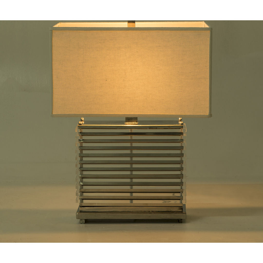 Resource Decor Stack Table Lamp | Nickel/White