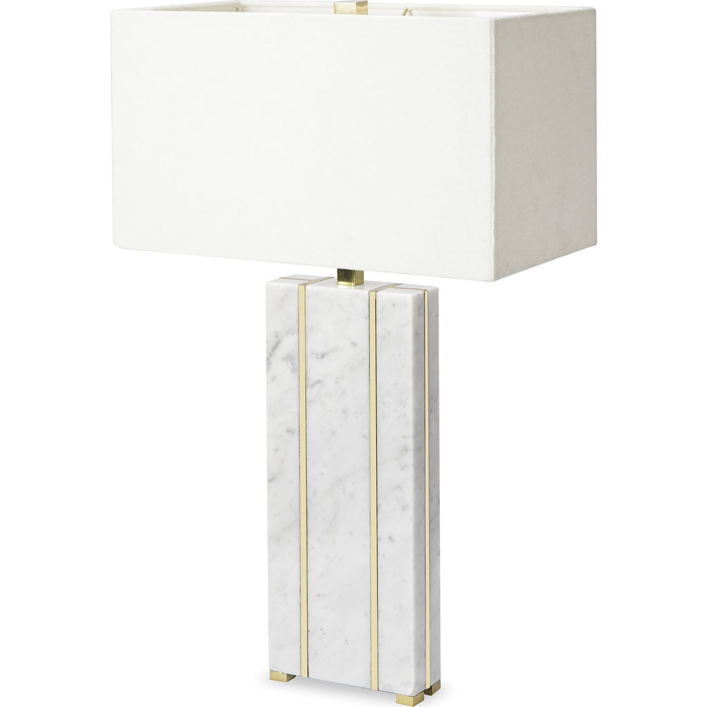 Resource Decor Marble Table Lamp | White/Brass