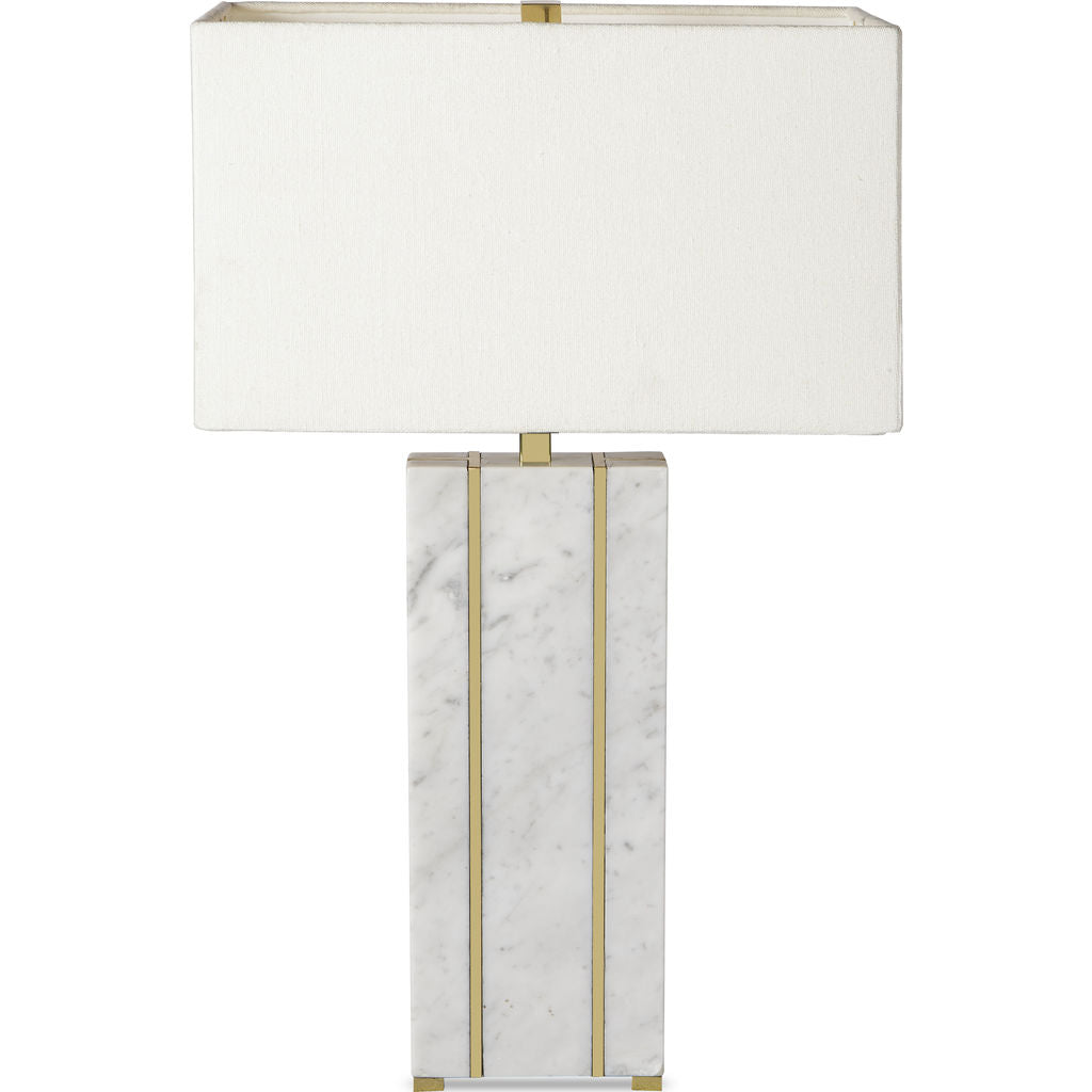 Resource Decor Marble Table Lamp White Brass Sportique