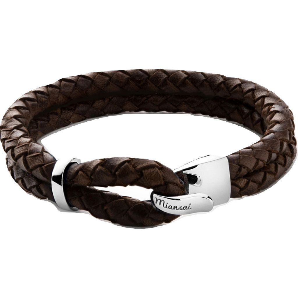 Miansai Beacon Brown Leather Bracelet | Sterling Silver 101-0003