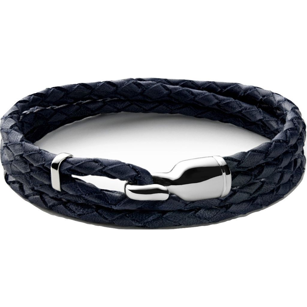 Miansai Trice Navy Blue Leather Bracelet W/ Sleeve | Sterling Silver 101-0162