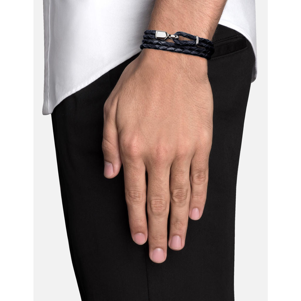 Miansai Trice Navy Blue Leather Bracelet W/ Sleeve | Sterling Silver
