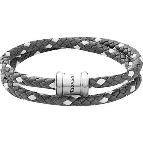 Miansai Two-Tone Leather Casing Bracelet | Gray/White