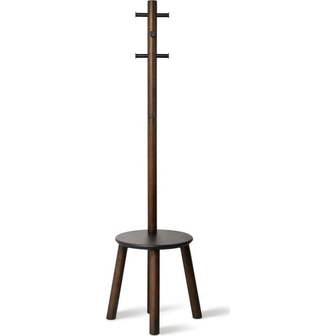 Umbra Pillar Stool W/ Built-In Coat Rack | Black/Walnut
