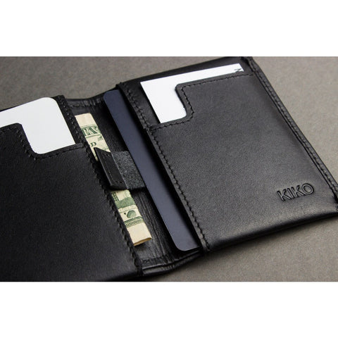 Kiko Leather Slim Bi-Fold Wallet | Black 102blk